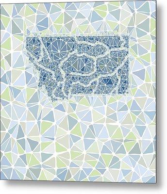 Montana State Map Geometric Abstract Pattern Metal Print by Hieu Tran
