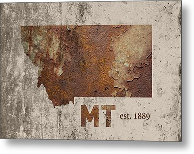 Montana State Map Industrial Rusted Metal On Cement Wall With Founding Date Series 041 Metal Print