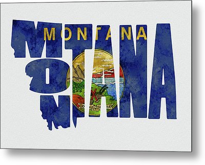Montana Typography Map Flag Metal Print by Kevin O'Hare
