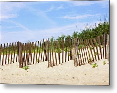 Montauk Sand Fence Metal Print by Art Block Collections