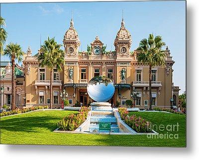 Monte Carlo Casino And Sky Mirror In Monaco Metal Print by Elena Elisseeva