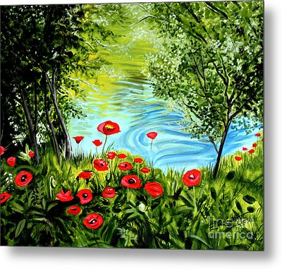 Metal Print featuring the painting Monte Rio Poppies by Elizabeth Robinette Tyndall