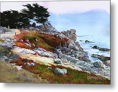 Metal Print featuring the painting Monterey Coast by Sergey Zhiboedov