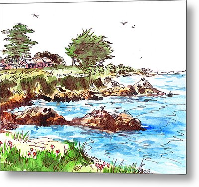 Metal Print featuring the painting Monterey Shore by Irina Sztukowski
