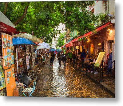 Montmartre Art Market, Paris Metal Print by Carl Amoth