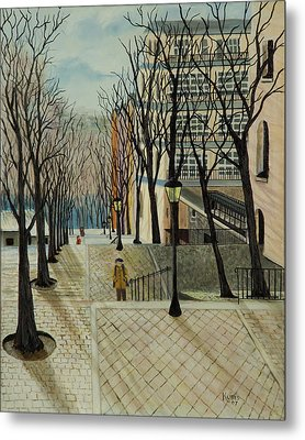 Montmartre Steps In  Paris Metal Print by Susan Kubes