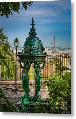 Montmartre Wallace Fountain Metal Print by Inge Johnsson
