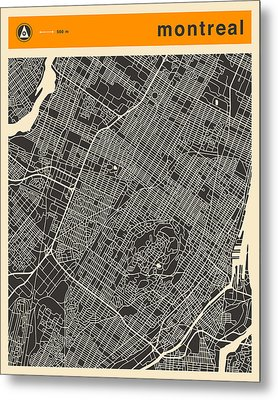 Montreal City Map Metal Print by Jazzberry Blue