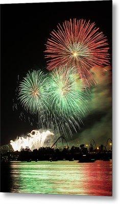 Montreal-fireworks Metal Print by Mircea Costina Photography