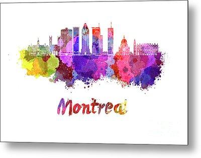 Montreal Skyline In Watercolor Splatters Metal Print by Pablo Romero
