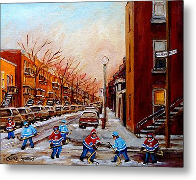 Montreal Street Hockey Game Metal Print by Carole Spandau