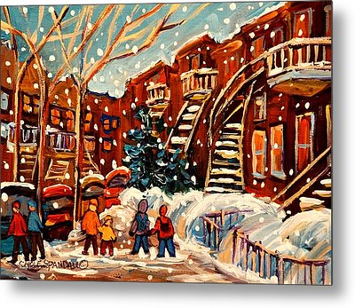 Montreal Street In Winter Metal Print by Carole Spandau