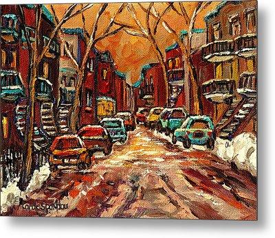 Montreal Streets In Winter Metal Print by Carole Spandau