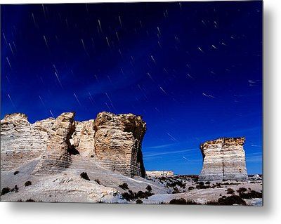 Monument Rocks Moonlight Metal Print