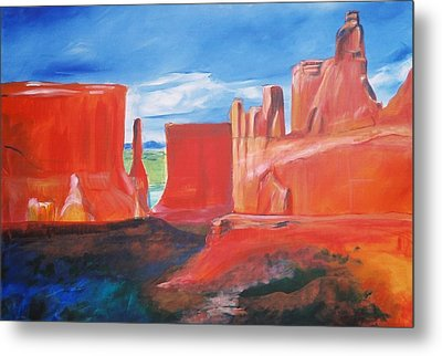 Metal Print featuring the painting Monument Valley  by Eric  Schiabor