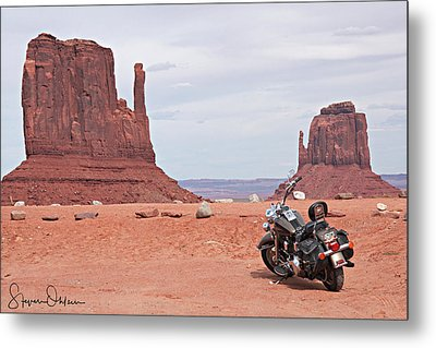 Monument Valley Motorcycle - Signed Limited Edition Metal Print by Steve Ohlsen