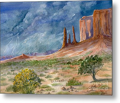 Monument Valley Raging Storm Metal Print