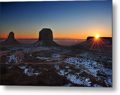 Monument Valley Sunrise Metal Print by Edwin Verin