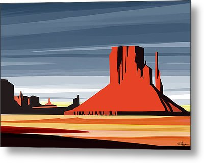 Monument Valley Sunset Digital Realism Metal Print by Sassan Filsoof