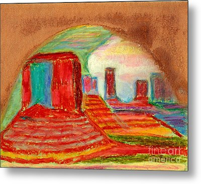 Metal Print featuring the painting Monument Valley Unafraid Of The Storm by Richard W Linford