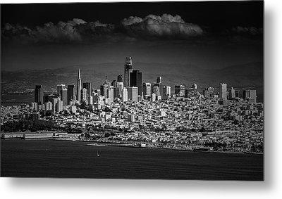 Moody Black And White Photo Of San Francisco California Metal Print by Steven Heap