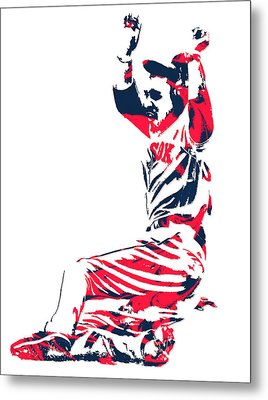 Mookie Betts Boston Red Sox Pixel Art 1 Metal Print
