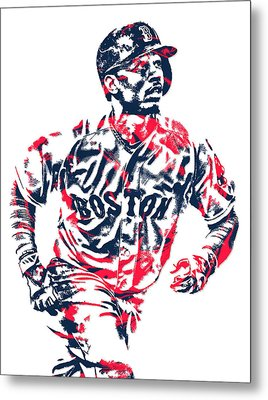 Mookie Betts Boston Red Sox Pixel Art 2 Metal Print
