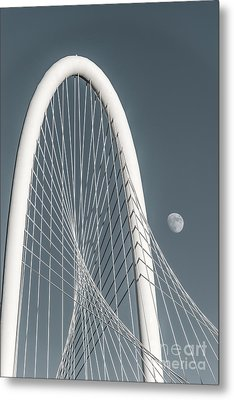 Moon At Margaret Hunt Hill Bridge  Metal Print by Tod and Cynthia Grubbs