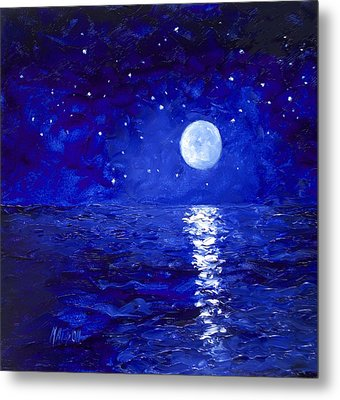 Moon And Stars Painting Metal Print