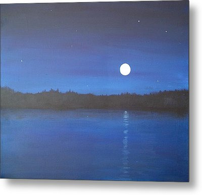 Moon And Stars Reflected Metal Print by Denise   Hoff