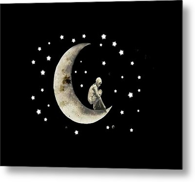 Moon And Stars T Shirt Design Metal Print by Bellesouth Studio
