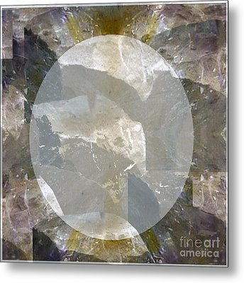 Moon Art On Stone Digital Graphics By Navin Joshi By Print Posters Greeting Cards Pillows Duvet Cove Metal Print by Navin Joshi