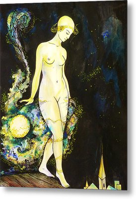 Metal Print featuring the drawing Moon Light by Anna  Duyunova