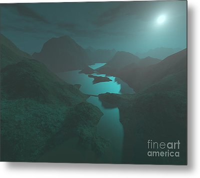 Moon Light At The Mountains Metal Print by Gaspar Avila