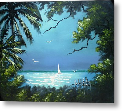 Moon Light On The The River Metal Print by Francis Roberts ll