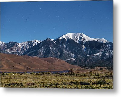 Moon Lit Colorado Great Sand Dunes Starry Night  Metal Print by James BO Insogna