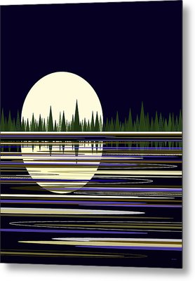 Metal Print featuring the digital art Moon Lit Water by Val Arie