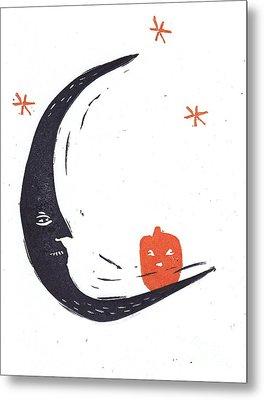 Moon Man And Jack-o-lantern Metal Print by Coralette Damme