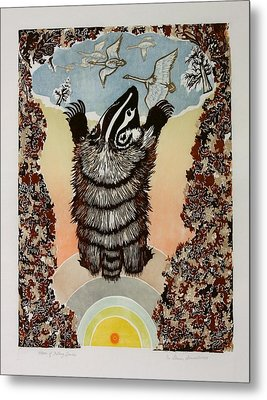 Metal Print featuring the drawing Moon Of Falling Leaves by Dawn Senior-Trask