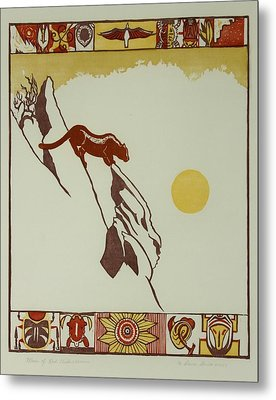 Metal Print featuring the drawing Moon Of Red Chokecherries by Dawn Senior-Trask
