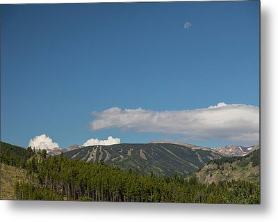 Moon Over Eldora Summer Season Ski Slopes Metal Print