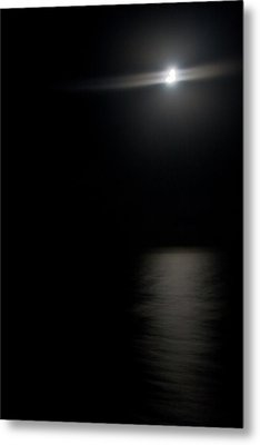 Moon Over Gulf Of Mexico Metal Print by Gwen Vann-Horn