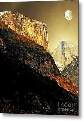 Moon Over Half Dome . Portrait Cut Metal Print by Wingsdomain Art and Photography
