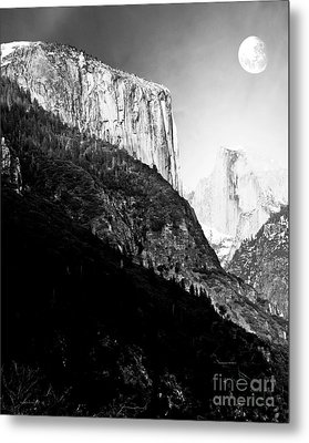 Moon Over Half Dome . Black And White Metal Print