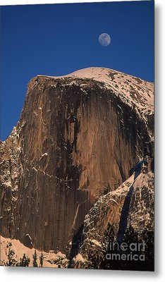 Moon Over Half Dome Metal Print by Stan and Anne Foster