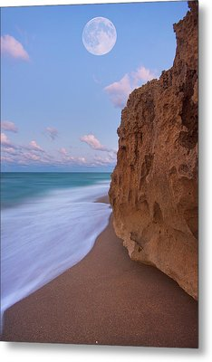Moon Over Hutchinson Island Beach Metal Print