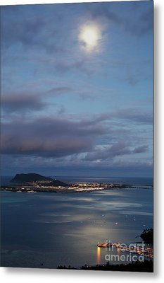 Moon Over Kaneohe Bay Metal Print by Charmian Vistaunet