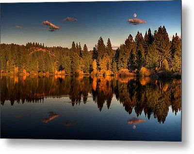 Moon Over Mill Pond Metal Print by Mick Burkey