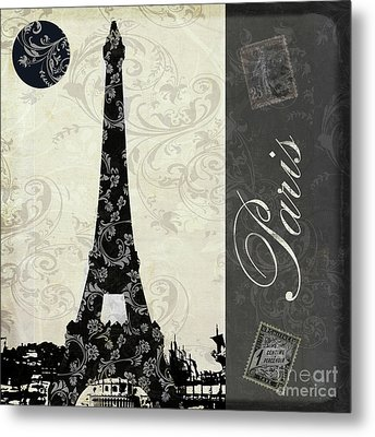 Moon Over Paris Postcard Metal Print by Mindy Sommers