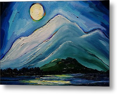 Moon Over Pioneer Peak Metal Print